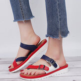 Large Size Damen Lässige Farbe Spleißen Cross Strap Sandalen