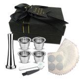 Tasse de capsule de café rechargeable en acier inoxydable Nestle Papier d'aluminium et marteau à poudre et cuillère avec sac de rangement pour machine Nespresso