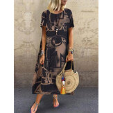 Women Floral Printed Loose O-Neck Short Sleeve Side Pockets Dress