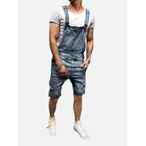 Men Slim Fit Denim Short Casual Jumpsuit
