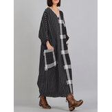 V Neck Stripe Plaid manga comprida Vintage Maxi Dress