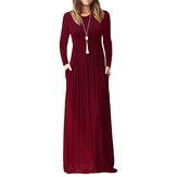 Women Long Sleeve Loose Solid Casual Long Maxi Dress