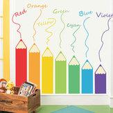 Loskii FX64104 Dessin Animé Colorful Crayon Sticker Mural Pour Chambre D'enfants Salon DIY Maternelle Salle De Jeux Murale Décor À La Maison