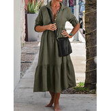 Women Long Adjustable Sleeve Button Pleated Solid Shirt Casual Maxi Dress