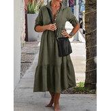 Botón de manga larga ajustable para mujer Plisado Sólido Camisa Casual Maxi Vestido