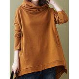 Pure Color Hooded Long Sleeve Casual Sweatshirt