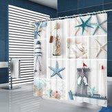 夏のビーチヒトデ浴室カーテン北欧スタイル印刷防カビ防水洗面所用シャワーカーテン浴室の装飾