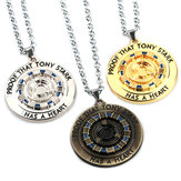 Iron Tony MK1 Reactor Keychain Necklace Energy Block Core Alloy Pendant Movie Peripheral Toys