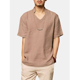 Mens Cotton Solid Color V-neck Loose Casual T Shirts