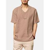 Algodón para hombre de color sólido con cuello en v flojo casual camisetas