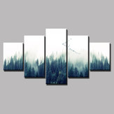 Loskii Spray Oil Paintings Canvas Five Combination Decorative Paintings Forest Landscape Wall Art For Home Decorations
