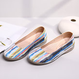 Multicolor Casual Leather Soft Sole Walking Flats