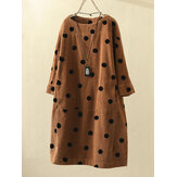 Vintage Print Polka Dots Long Sleeve Pockets Corduroy Dress
