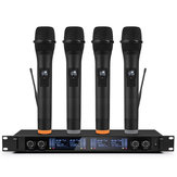 Profissional UHF 4 Canais Microfone Sistema de Microfone Sem Fio de 2 Canais Microfone para a Festa Da Família Da Igreja de Palco Karaoke Reunião