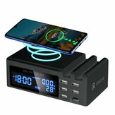 Qi Wireless Phone ChargeQC3.0 Smart LCD Clock 48W 5 Ports 2.1A Adapter Temperature Display Desktop Charging Station For iPhone Adapter+Type C