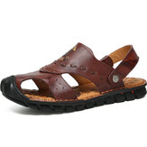 Men Genuine Leather Breathable Hollow Out Soft Sole Beach Sandals