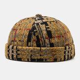 Unisex plys Soft stof plaid syning rund top mode udlejer hue beanie kraniet kasketter kantløse hatte