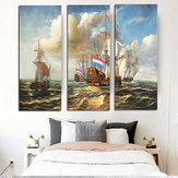 Original Miico Hand Painted Three Combination Decorative Paintings Sea Vessel Wall Art For Home Decoration
