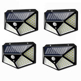 4 piezas 100 LED Solar Powered PIR Motion Sensor Aplique al aire libre Garden Lámpara 3 modos
