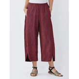 Mulheres de perna larga listradas elásticas cintura bolsos calças Calças