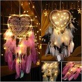 Oświetlenie LED Dreamcatcher Feather Sypialnia Kształt serca Sypialnia Dekoracja domu Salon Dreamcatcher Dekoracje na prezenty