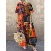 Women Retro O-neck Short Sleeve Loose Baggy Print Maxi Dress