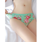 Lace-Trim Floral bedruckte nahtlose Ice Silk Briefs