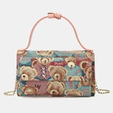 Women Bear Pattern 5 Card Slots Chain Phone Purse Crossbody Bag