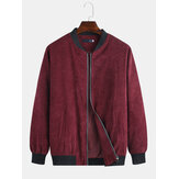 Mens Autumn Cord Solid Color Stehkragen Freizeitjacke