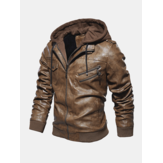 Mens Fashion PU Hooded Zipper Jacket Warmer dicker Ledermantel
