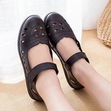 Women Breathable Hollow Out Microfiber Flats