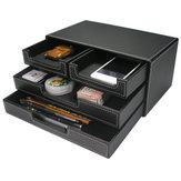 3-Schicht-4-Schubladen-Holz Leder Schreibtisch Set Aktenschrank Aufbewahrungsbox Office Desktop Organizer Datei Schublade Dokumentencontainer