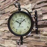 2 Styles Vintage Retro Indoor Outdoor Wall Hanging Clock for Home Decoration