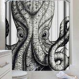 3D Siyah & Beyaz Ahtapot Mürekkepbalığı Duş Perdesi Su Geçirmez Yıkanabilir Banyo Perdeleri 12 Hooks Ile