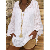 Plus Size Solid Color Lace Crochet Casual Blouse For Women