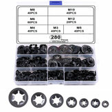 280Pcs M3 M4 M5 M6 M8 M10 M12 Push-on Locking Washer Star Nut Metal Assorted