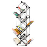 7/9 Tiers Multilayer Combination Wrought Iron Bookshelf File Holder Storage Rack Bookcase Storage Shelf Organizer Home Decorations