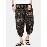 Ethnic Style Printed Calf Length Loose Pants