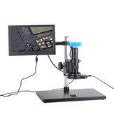 Full Set 34MP 2K Industrial Soldering Digital Microscope Camera USB Outputs 180X C-mount Lens 56 LED  11.6 inch screen