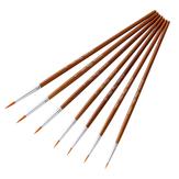 7 PCS油絵ブラシ木製ヘンデルNylon水彩アクリル塗装用ヘアフックラインペン