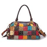 女性ボヘミアン大容量本革ハンドバッグ
