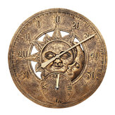 Waterproof Outdoor Indoor Garden Wall Station Clock Thermometer 12 Inch Sun And Moon