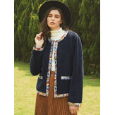 Casual Fleece Patch Long Sleeve Jacket For Women