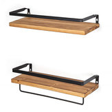 2PCS Wall Shelf Floating Wood Storage Shelf Rack Storage Kitchen Bathroom