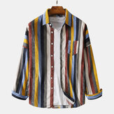 Mens Corduroy Colorful Stripe Chest Pocket Casual Long