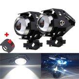 2 pcs U5 Motocicleta LED Faróis de Condução Preto Nevoeiro Spot Hi / Lo Light com Interruptor de Matança