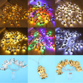 3M 20PCS Battery Powered Gold Sliver Palace Eid Ramadan Kareem Mubarak LED Fairy String Light for Party Decor