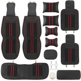 Universal Car 5 Seat PU Leather Black / Red Full Surround Cover Mat Poduszka Poduszka