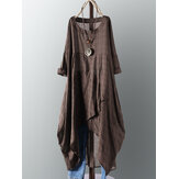 Plus Womens Plaid Casual Asymmetrical Shirt Irregular Hem Midi Dress