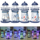 Decoración náutica Shabby Metal Lighthouse Shell Colorful luz LED Decoraciones para fiestas en casa